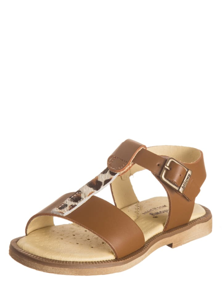 Billowy Leder-Sandalen in Braun/ Beige
