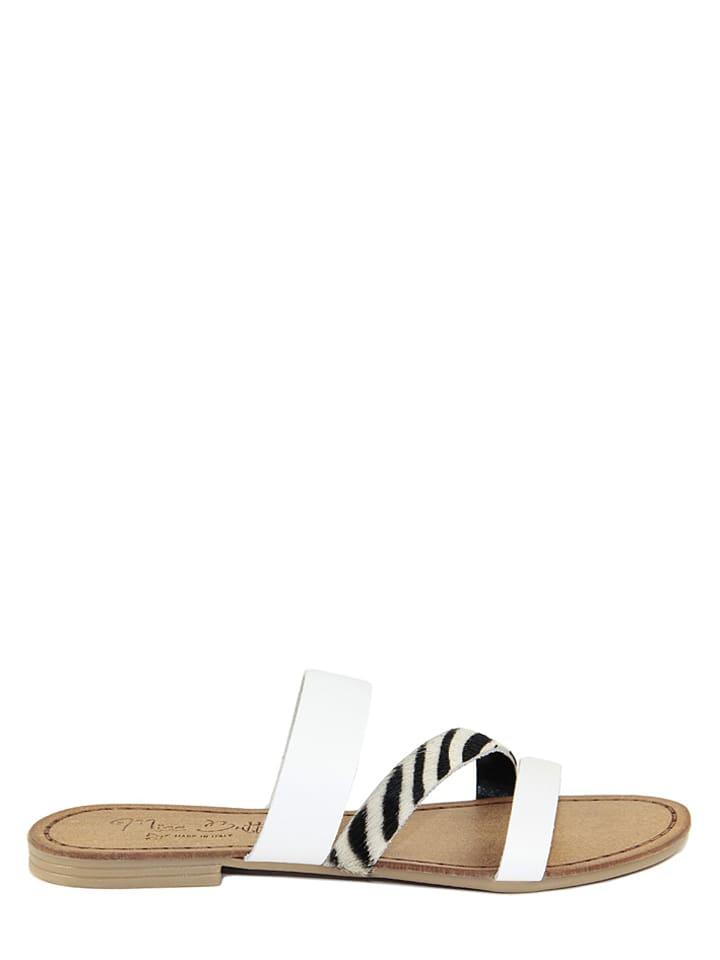 Miss Butterfly Leder-Pantoletten in Weiß