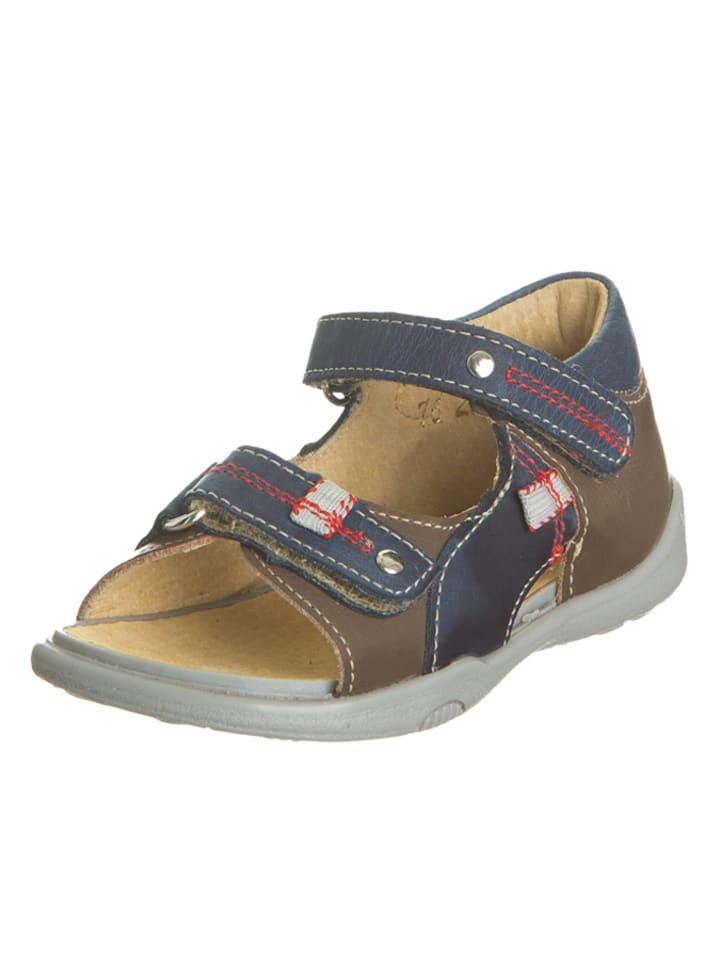 Minibel Skórzane sandały w kolorze brązowo-granatowym