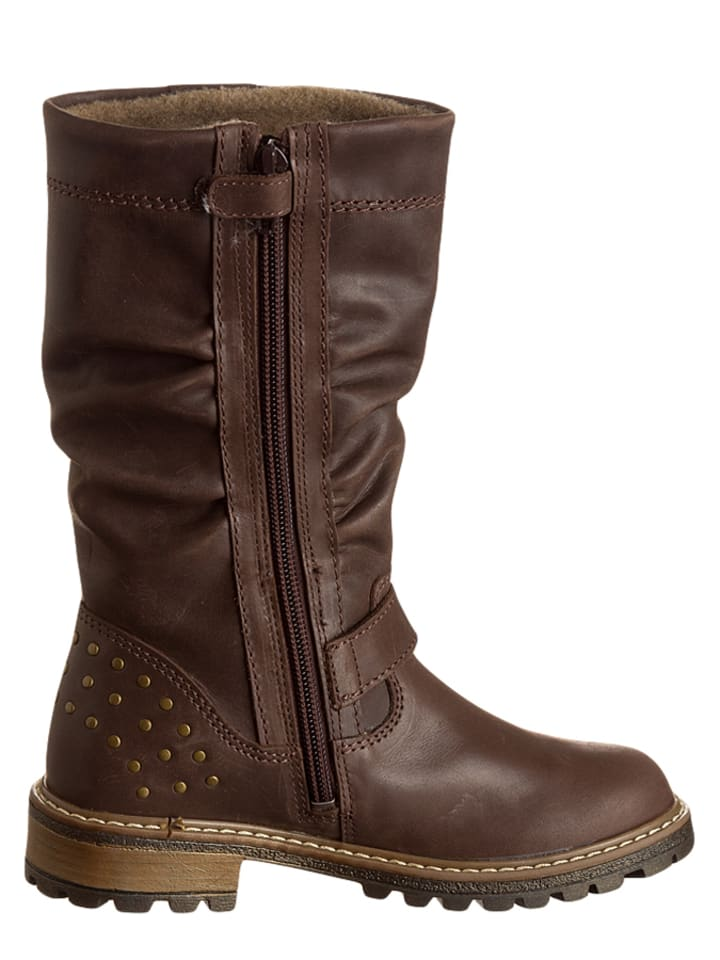 Richter Shoes Leder-Stiefel in Braun