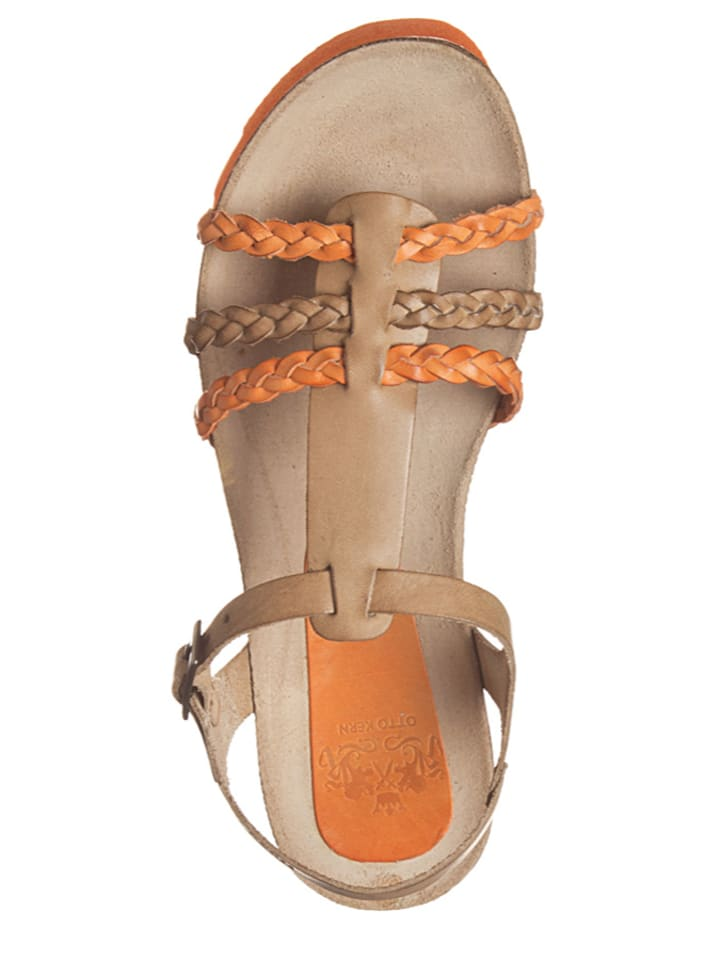 Otto Kern Leder-Sandalen in Hellbraun/ Orange