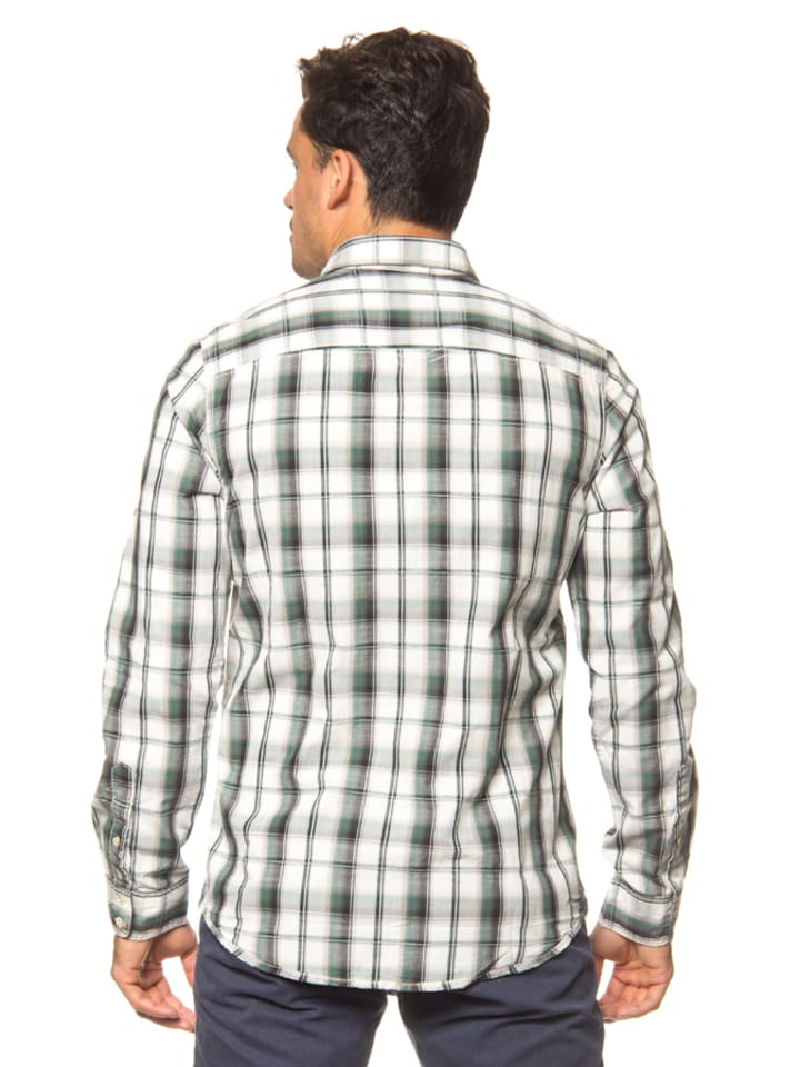 Tom Tailor Hemd in Weiß/ Grün/ Schwarz