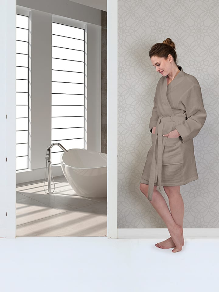 HNL Bademantel Waffle in Taupe