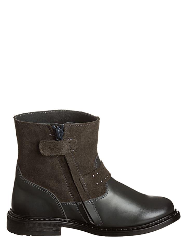 Billowy Leder-Boots in Grau