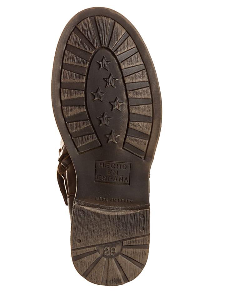 Billowy Leder-Boots in Hellbraun