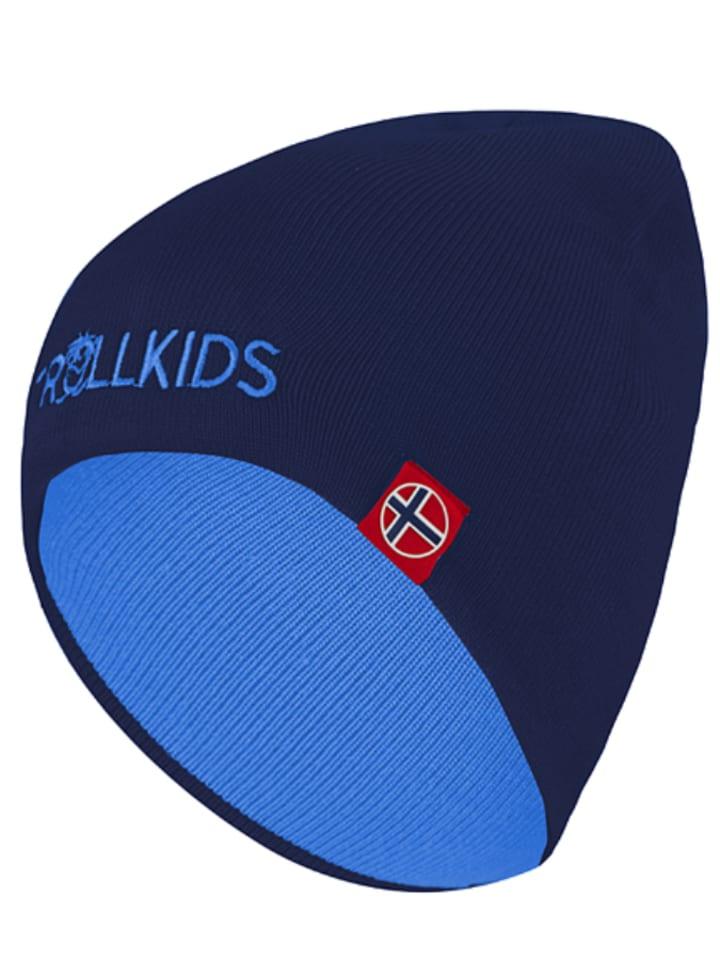 Trollkids Wende-Beanie in Dunkelblau/ Hellblau