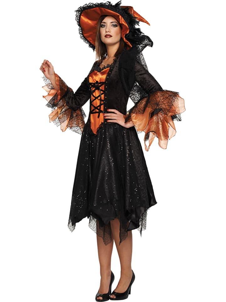 """MOTTOLAND 2tlg. Kostüm """"Luxus Hexe"""" in Schwarz/ Orange"""
