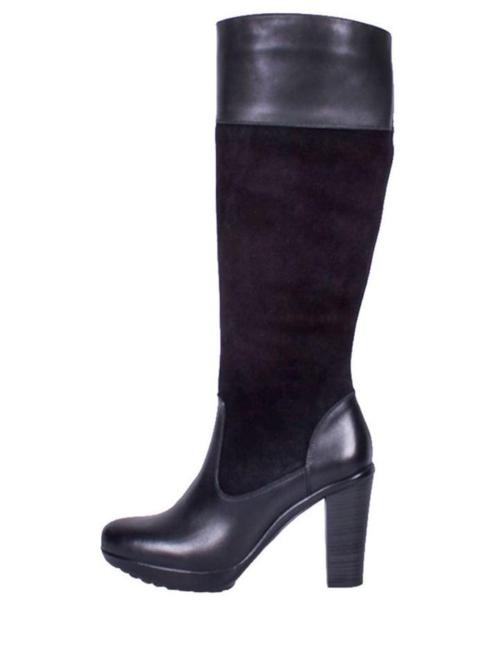 Roberto Botella Leder-Stiefel in Schwarz