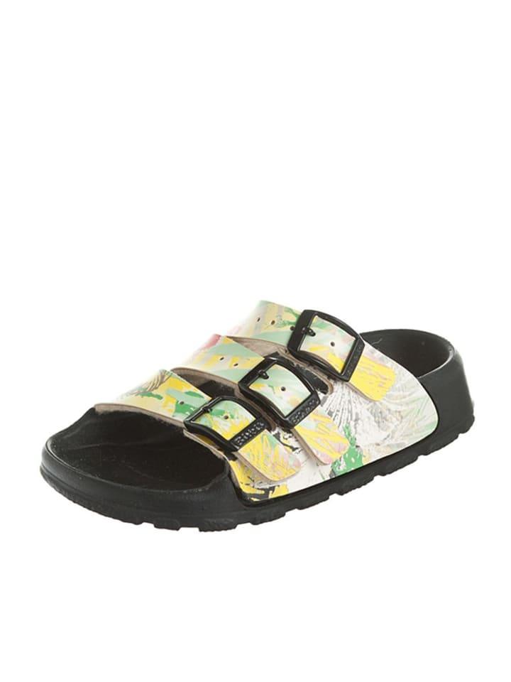 """Birki's Dziecięce klapki """"Sansibar"""" w kolorze żółtym z nadrukiem palm"""