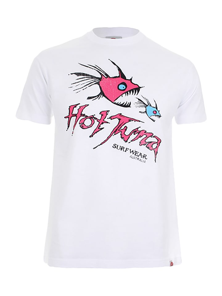 "Hot Tuna Shirt ""Nom Nom"" in Weiß/ Pink"