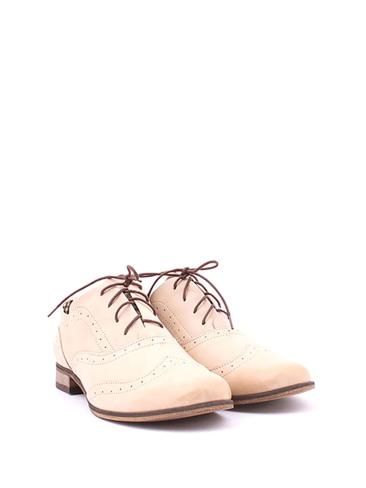 Zapato Leder-Schnürschuhe in Beige