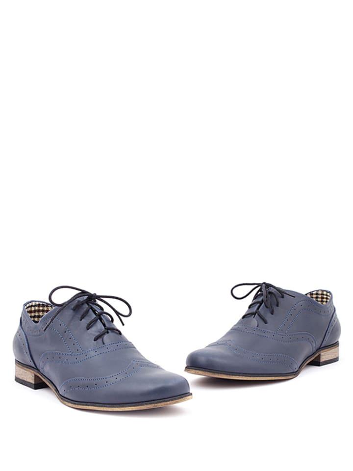 Zapato Leder-Schnürschuhe in Dunkelblau