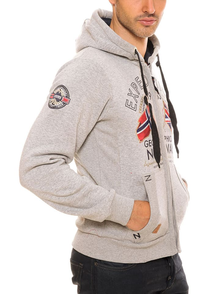 "Geographical Norway Sweatjacke ""Flepto"" in Hellgrau"