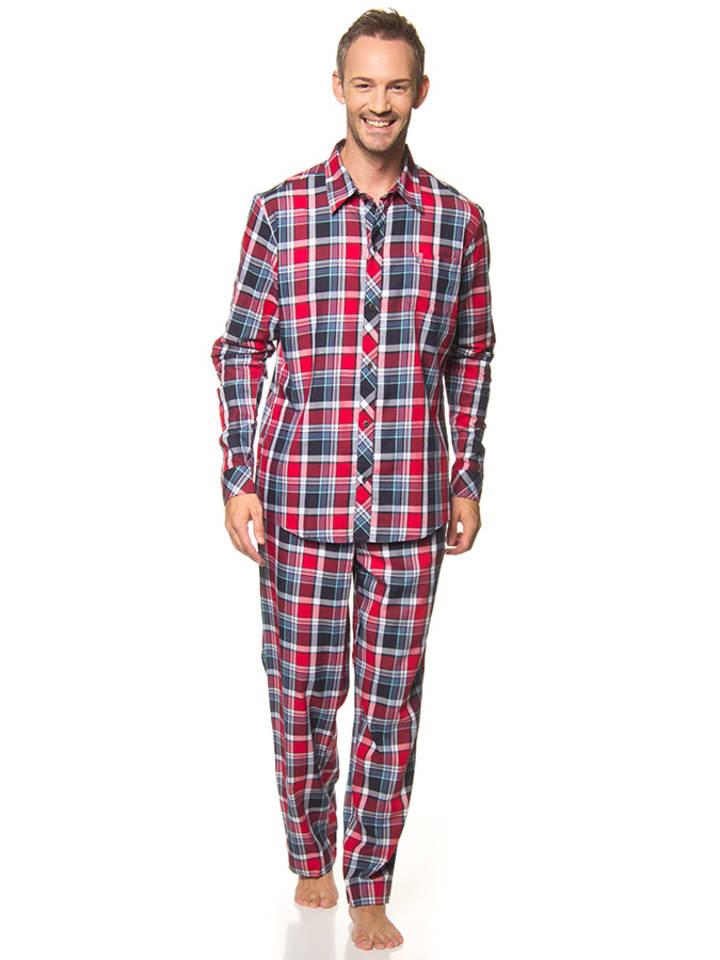 Jockey Pyjama in Rot/ Dunkelblau/ Weiß