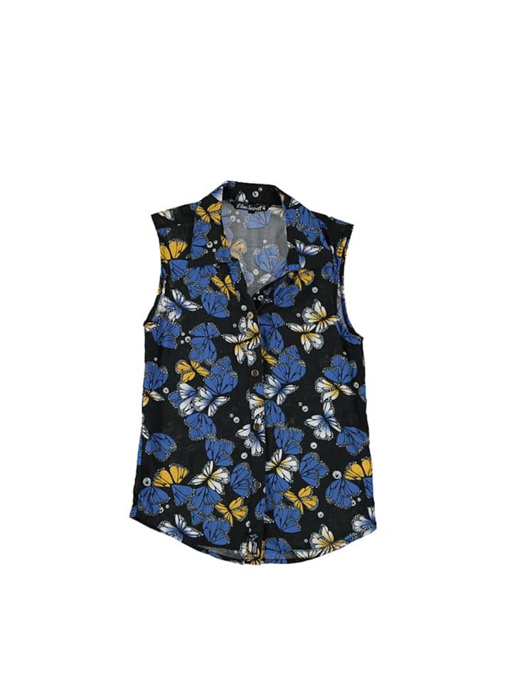 Lilou Secret Bluzka w kolorze niebiesko-czarno-żółtym