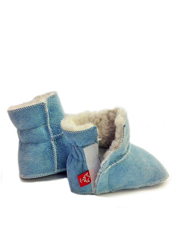 Kaiser Naturfellprodukte Buciki niemowlęce w kolorze błękitnym