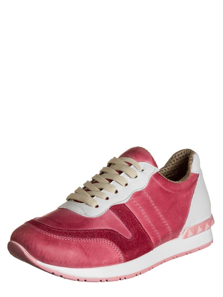 Andrea Conti Leder-Sneakers in Altrosa