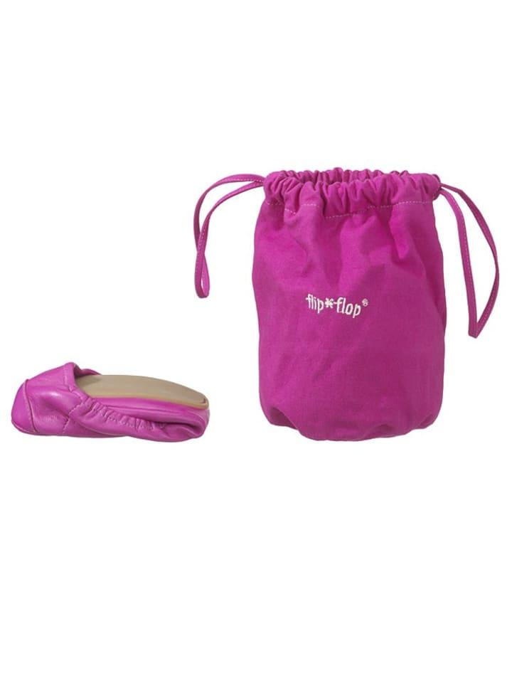 Flip Flop Leder-Ballerinas Pure Ballet in Pink