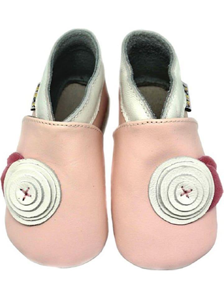 """Lait et Miel Leren pantoffels """"Bloem"""" roze"""