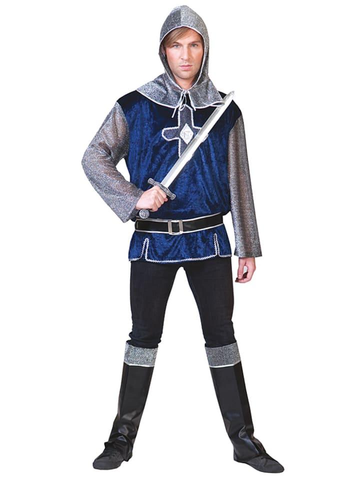 """Funny Fashion 4tlg. Kostüm """"Sir Lancelot"""" in Silber/ Dunkelblau"""