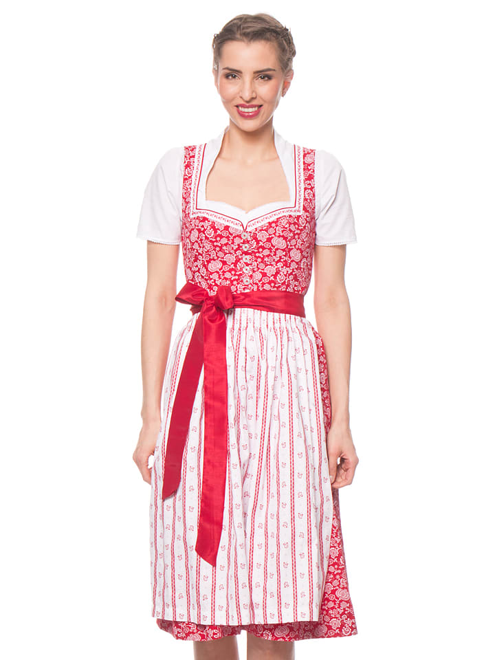 turi landhaus midi dirndl maike in rot wei limango. Black Bedroom Furniture Sets. Home Design Ideas