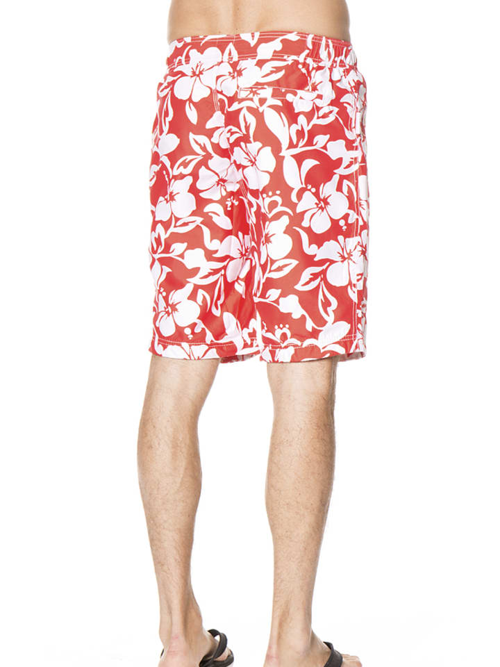 Superdry Badeshorts in Rot/ Weiß