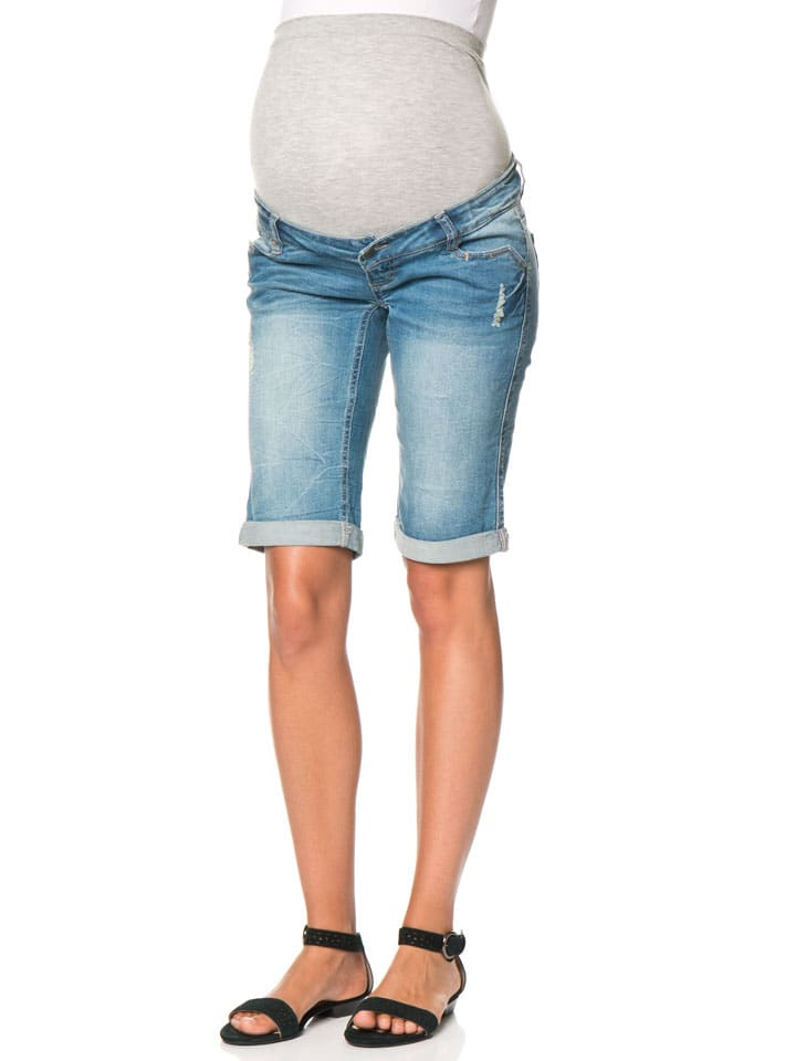 Mama licious Bermuda en jean - bleu