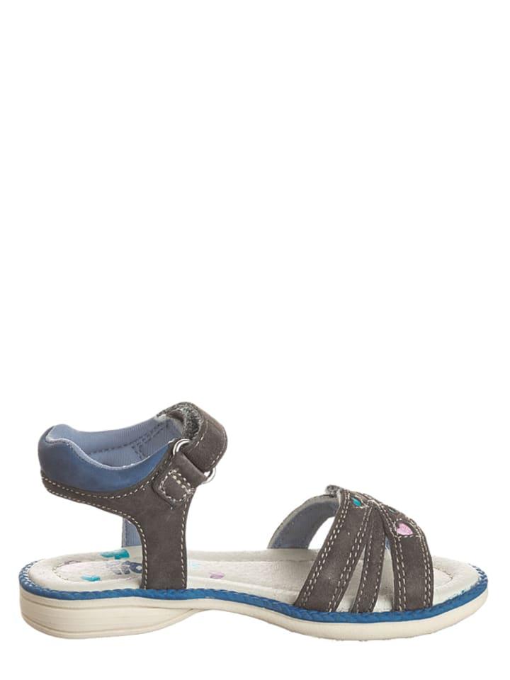 Pio Leder-Sandalen in Grau/ Blau