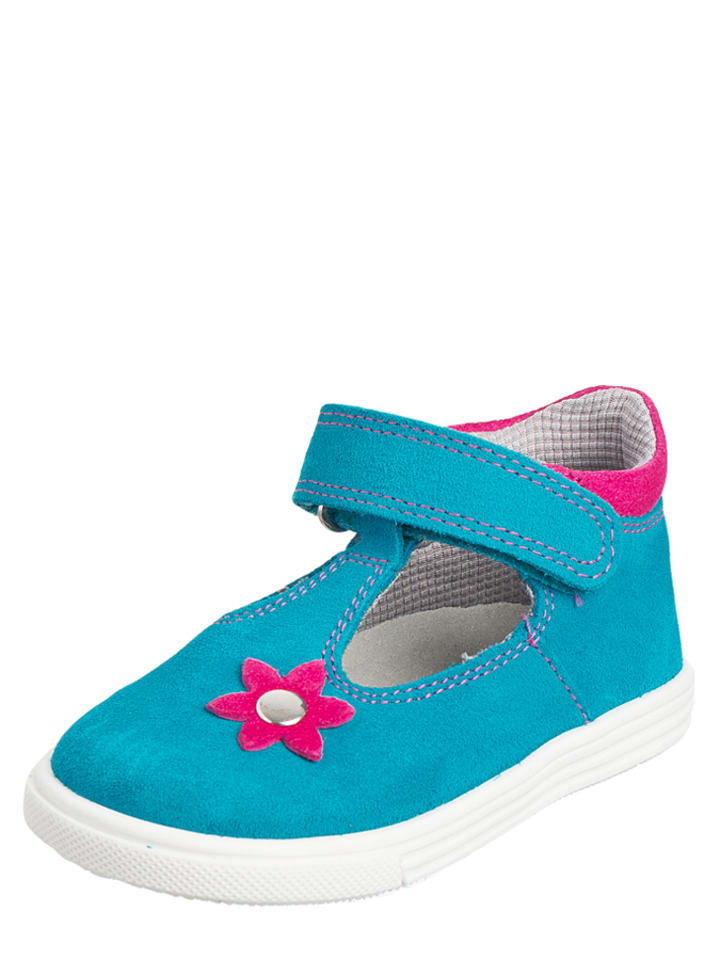 Richter Shoes Leder-Ballerinas in Türkis/ Pink