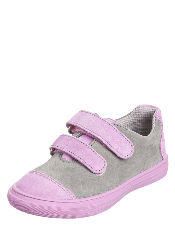 Richter Shoes Skórzane sneakersy w kolorze jasnoróżowo-szarym
