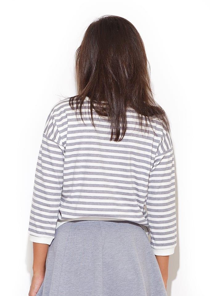 Katrus Shirt in Grau/ Weiß