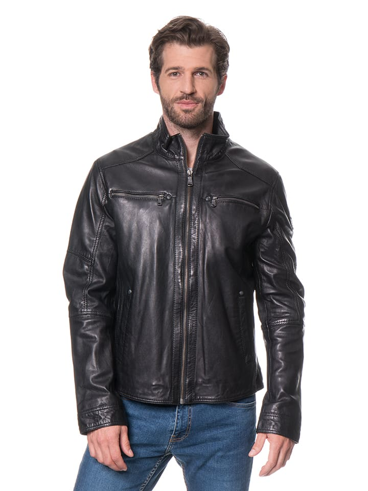 "Stones Lederjacke ""Carrington"" in Schwarz"