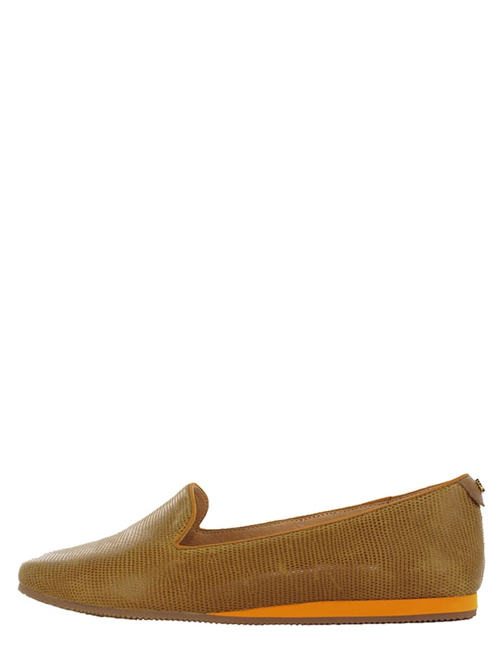 "Flip Flop Leder-Slipper ""Coffee"" in Khaki"