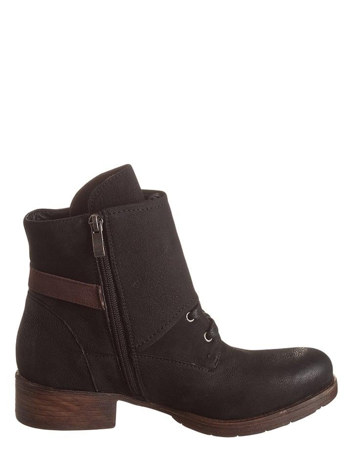 Andrea Conti Leder-Boots in Schwarz