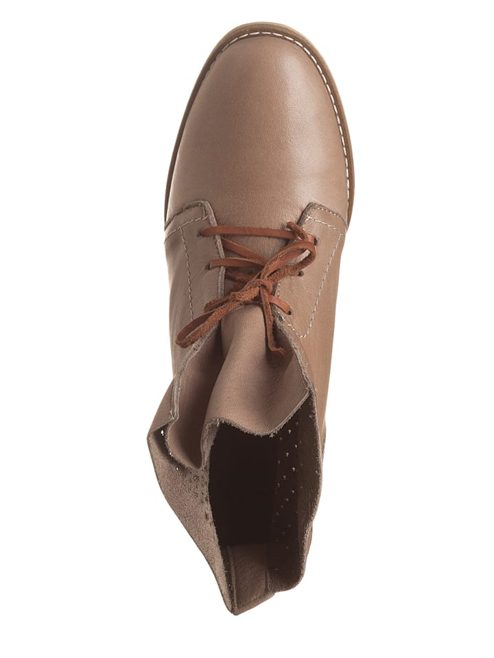 Andrea Conti Leder-Boots in Taupe