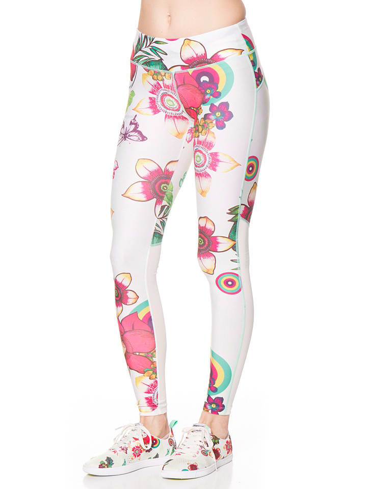 Desigual Sport Leggings in Weiß/ Bunt