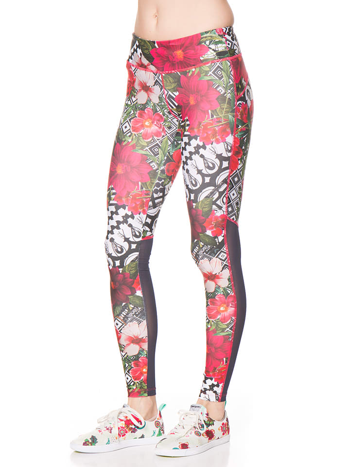 Desigual Sport Leggings in Pink/ Bunt