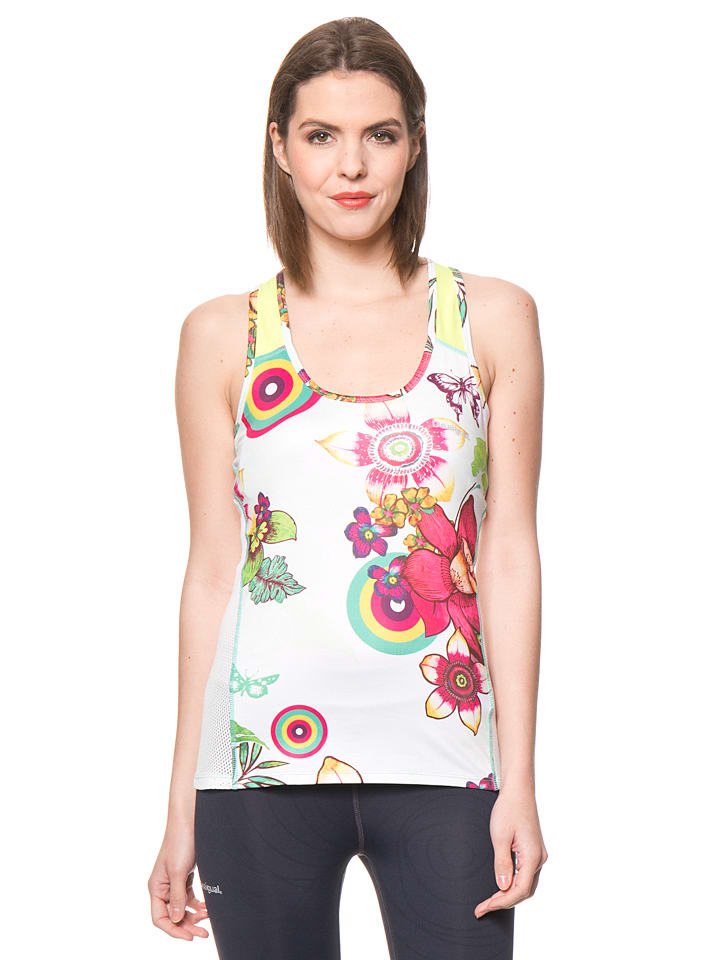 Desigual Sport Top in Weiß/ Bunt