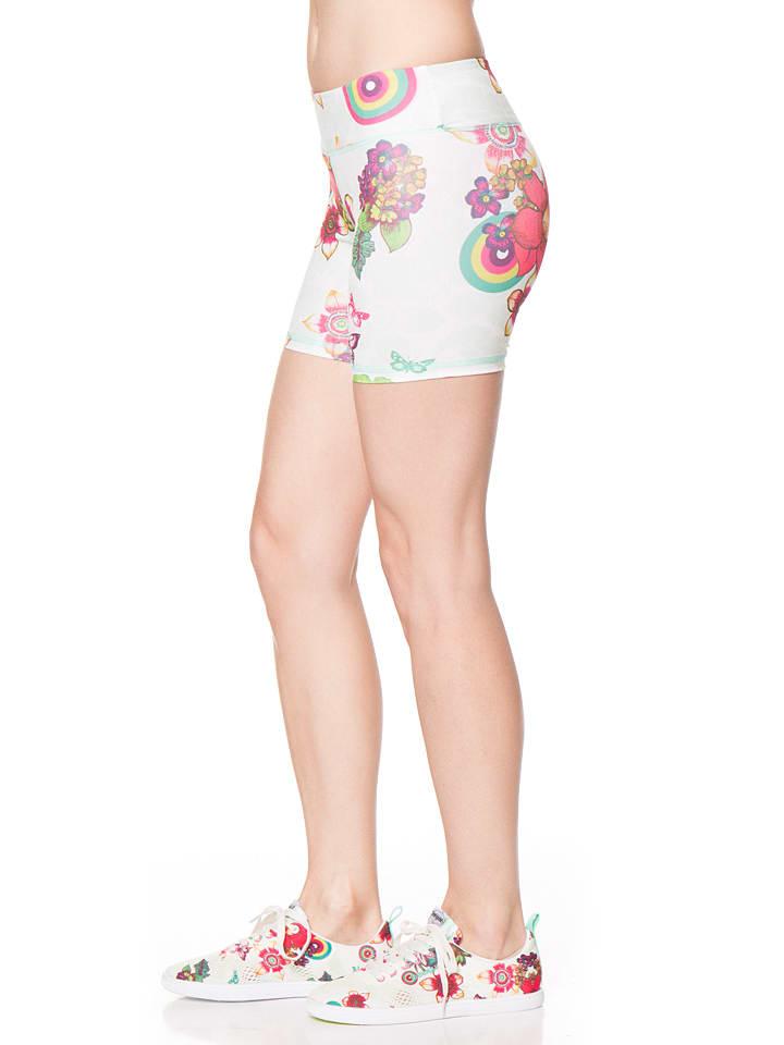 Desigual Sport Shorts in Weiß/ Bunt