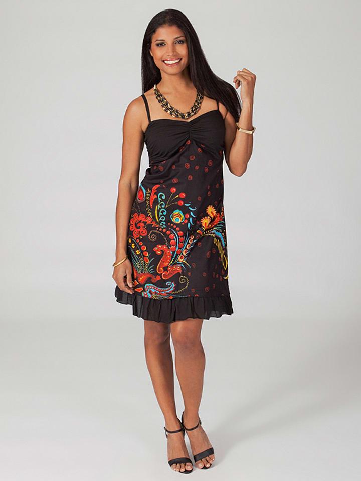 Aller Simplement Kleid in Schwarz/ Bunt