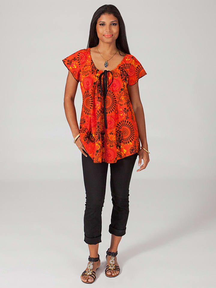 Aller Simplement Shirt in Orange/ Schwarz