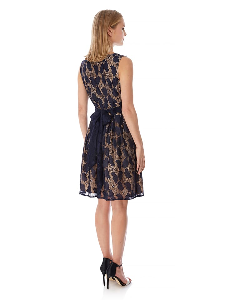 Yumi Kleid in Dunkelblau/ Beige