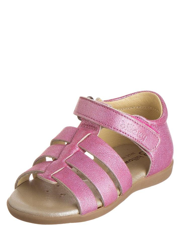 Billowy Skórzane sandały w kolorze jasnoróżowym