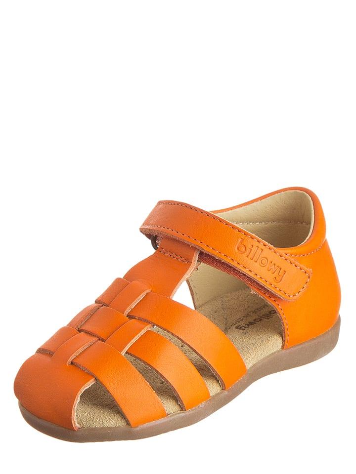 Billowy Leder-Halbsandalen in Orange