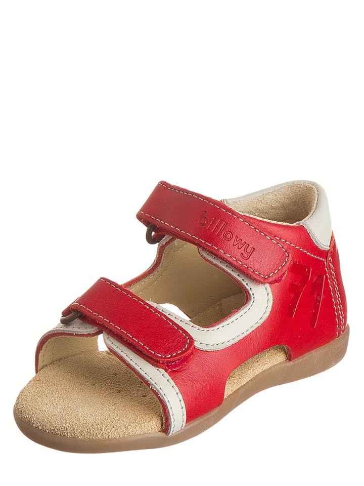 Billowy Leren sandalen rood/wit