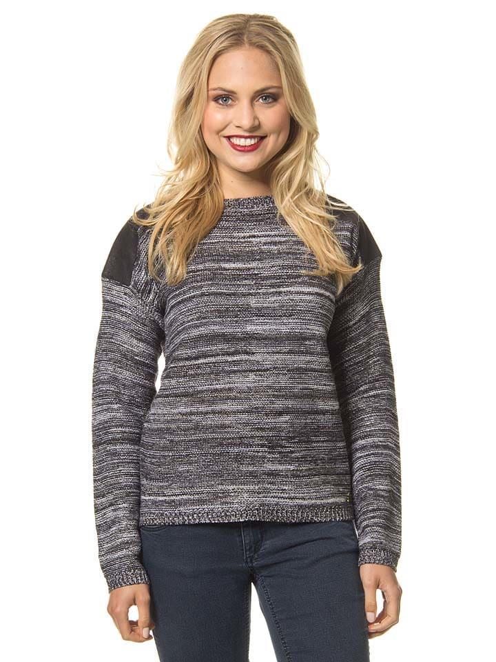 Lilou Secret Pullover in Grau/ Schwarz