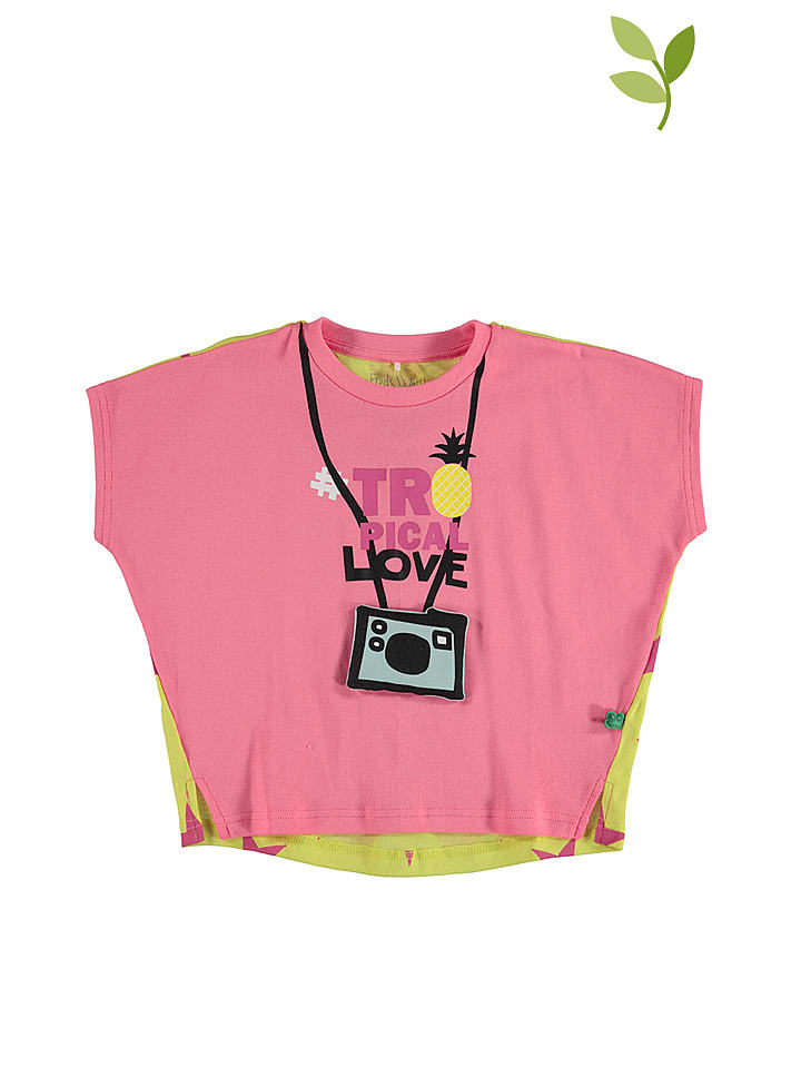 """Green Cotton Shirt """"Pineapple"""" in Rosa/ Gelb"""