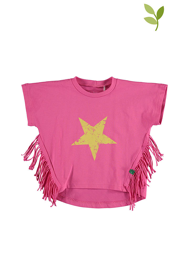 """Green Cotton Shirt """"Star"""" in Pink"""