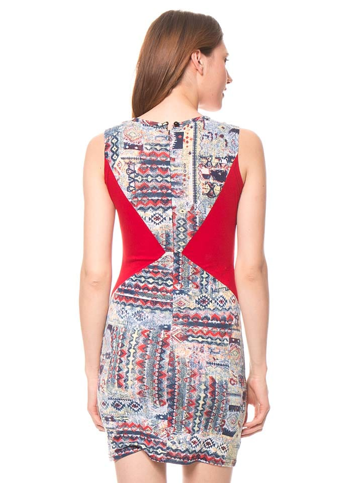 Bamboo's fashion Kleid in Rot/ Bunt