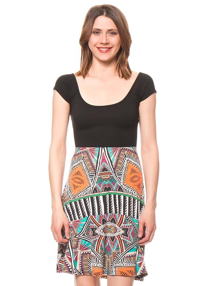 Bamboo's fashion Kleid in Schwarz/ Bunt